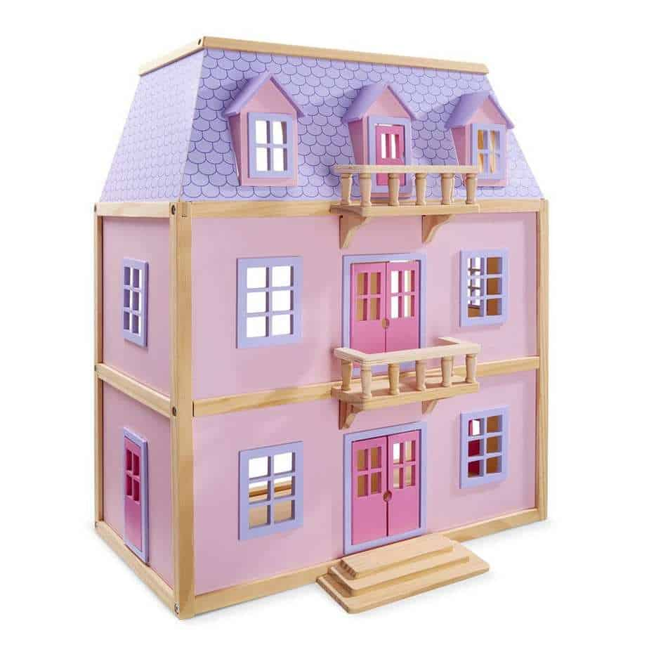 multi level solid wood dollhouse