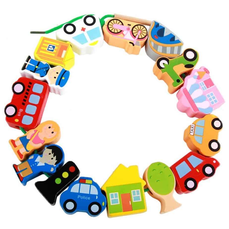 MinYn Lacing Vehicles Toy Wooden Block Set