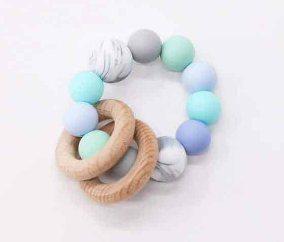 Silicone Bead and Double Wood Ring Teether | BabyCubby