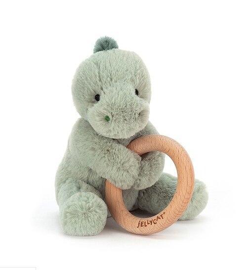Bashful Shooshu Wood Ring Dino Rattle | BabyCubby